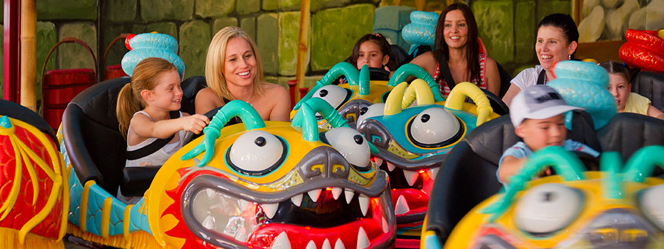 Custom bumper cars recreate the festival dragons seen in the second Kung Fu Panda film.
