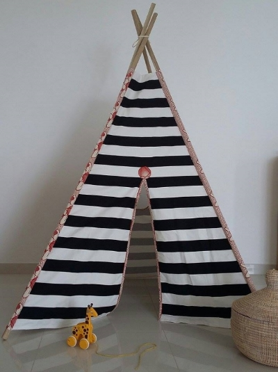 BLACK AND WHITE STRIPES WITH RED AND BEIGE TRIMMINGS - TEEPEE