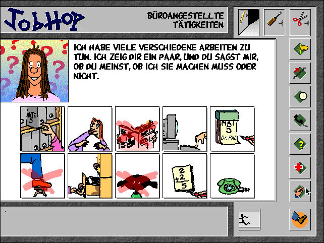 Job Hop was a computer game built for the austrian employment agency in 1996. A study at the time showed that especially girls had a very limited horizon concerning job opportunities. The goal of Job Hop was to help them formulate questions and find criteria that help them make better career choices.