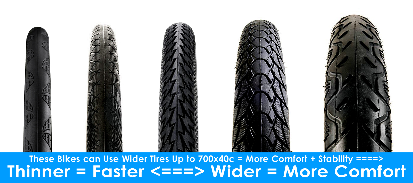 thinner = faster....wider = more comfort