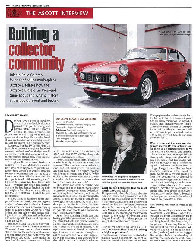 It's all about building the community!! 🙌🏻❣Thank you to @theedge_sg for amazing cover story of our upcoming @luxglove #ClassicCar Weekend! #TheEdgeOptions #Luxglove #lxgclassiccars #prancinghorse #carlovers #petrolheads #250GTE #pininfarina @asiatiquecollections #dempsey @mercurysocial #mercury