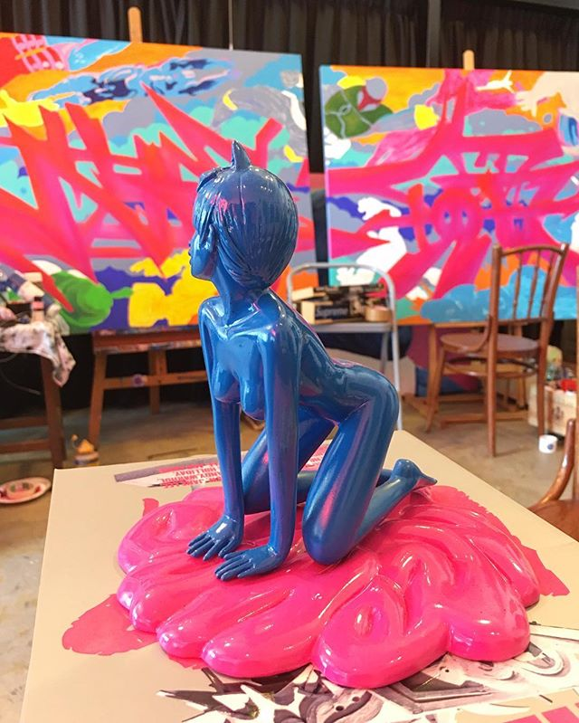 Artist studio visit! / 'Cherry Pop' by @jahan_ / #arthunting #sculpture #popart #mandaiestate #artiststudio