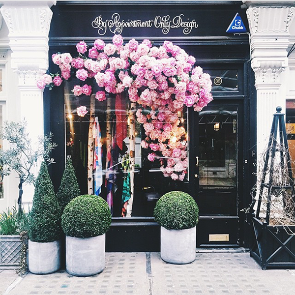About two years ago in London, we happened upon this storefront with pink roses climbing from inside the shop and spilling right outside from the top of the window glass and positively fell  in love  with this beautiful new style of window display . . .