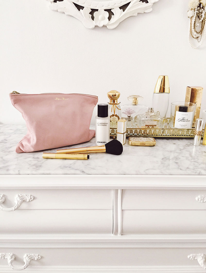 The  Saint-Tropez Zip Pouch  in the  most romantic shade of  Blush evokes hotel lobbies and crisp linens, August sunsets and weekends away . ..   + shop now