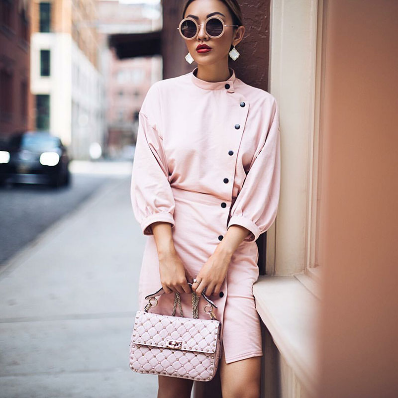 This week's Style Inspiration is  Jessica Wang , a Chinese American digital influencer based in New York City. Her blog, NotJessFashion , was launched in May 2014, when she left behind her corporate 9-5 life for good. We love her chic and feminine aesthetic, from all-pink ensembles to pastel green ruffled skirts paired with ankle boots and more ...