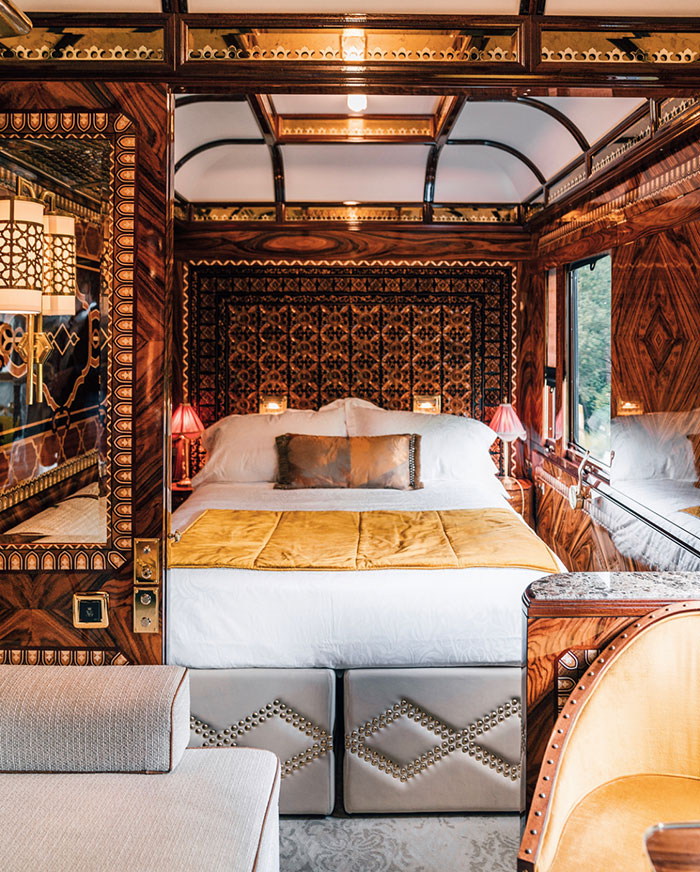 There are three grand suites on the Venice Simplon-Orient-Express, each designed to reflect the spirit of the city they are named after; this suite is the Istanbul.
