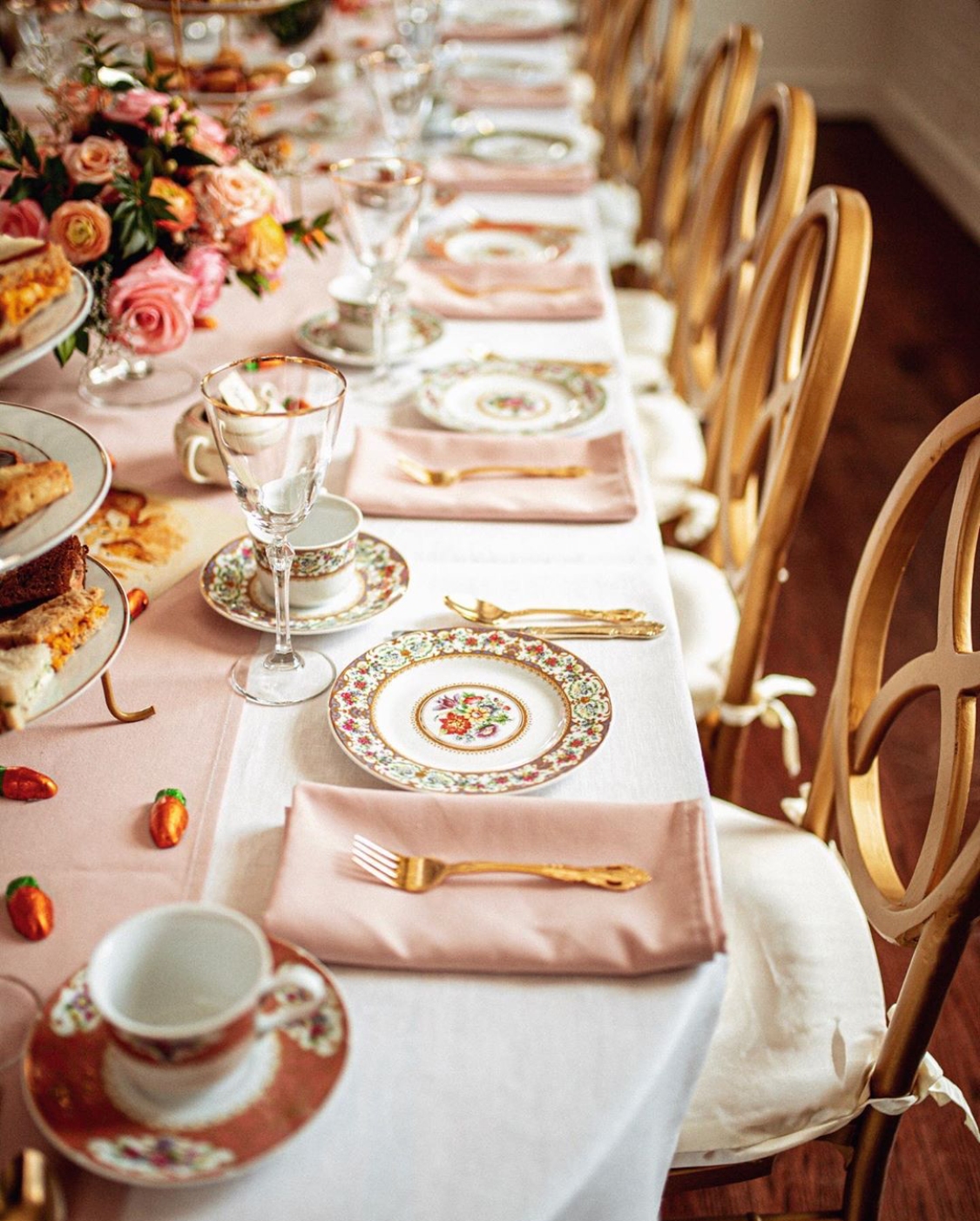 We happened upon this Beatrix Potter-themed baby shower on Instagram and were immediately charmed by the delicate pink, white and gold theme, the pretty china patterns and the orange and pink roses. Thrown for Mary Orton of the blog  Memorandum , this theme can easily be adapted to just about any occasion, even a holiday soirée…