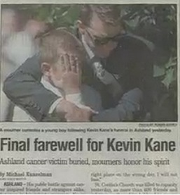 September 5, 1998 At Kevin's funeral, his brother Tim and his nephew Jeromy grieve the loss of Kevin as thousands came to say goodbye and share in the Kane family loss.