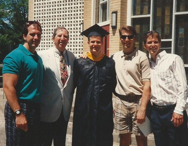 Kevin Kane's graduation from Westfield State 1994; Chris, Dad, Kevin, Tim, and Mike.