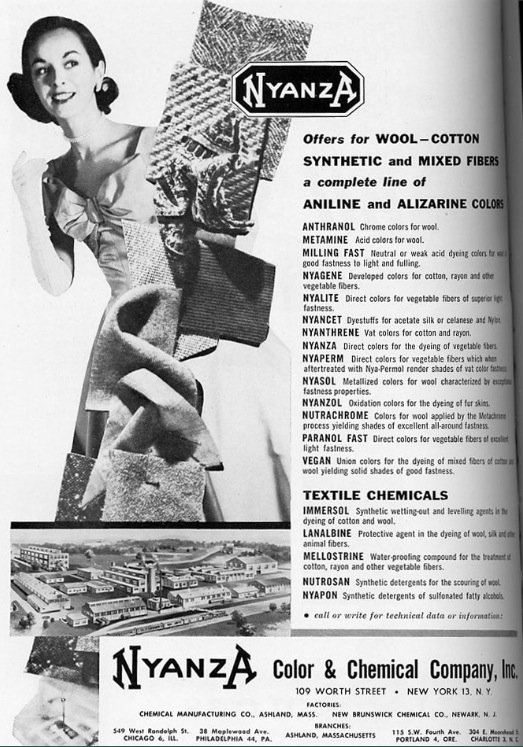 Vintage Ad listing of the Nyanza Company chemical, circa 1950's