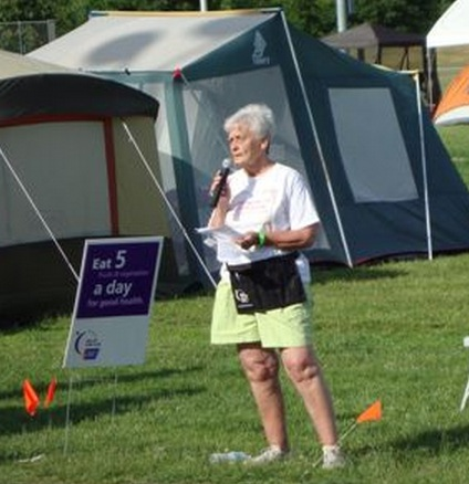 Marie Kane as a speaker at Relay For Life