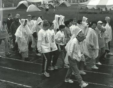 "Kevin Kane was the ""honorary"" chair of the 1998 Relay For Life. He and Marie Kane  (seen in the very back) walked together as ""survivors"" for the first lap. Marie completed  the relay, but it was too difficult for Kevin that day.  Kevin died 2 months later."
