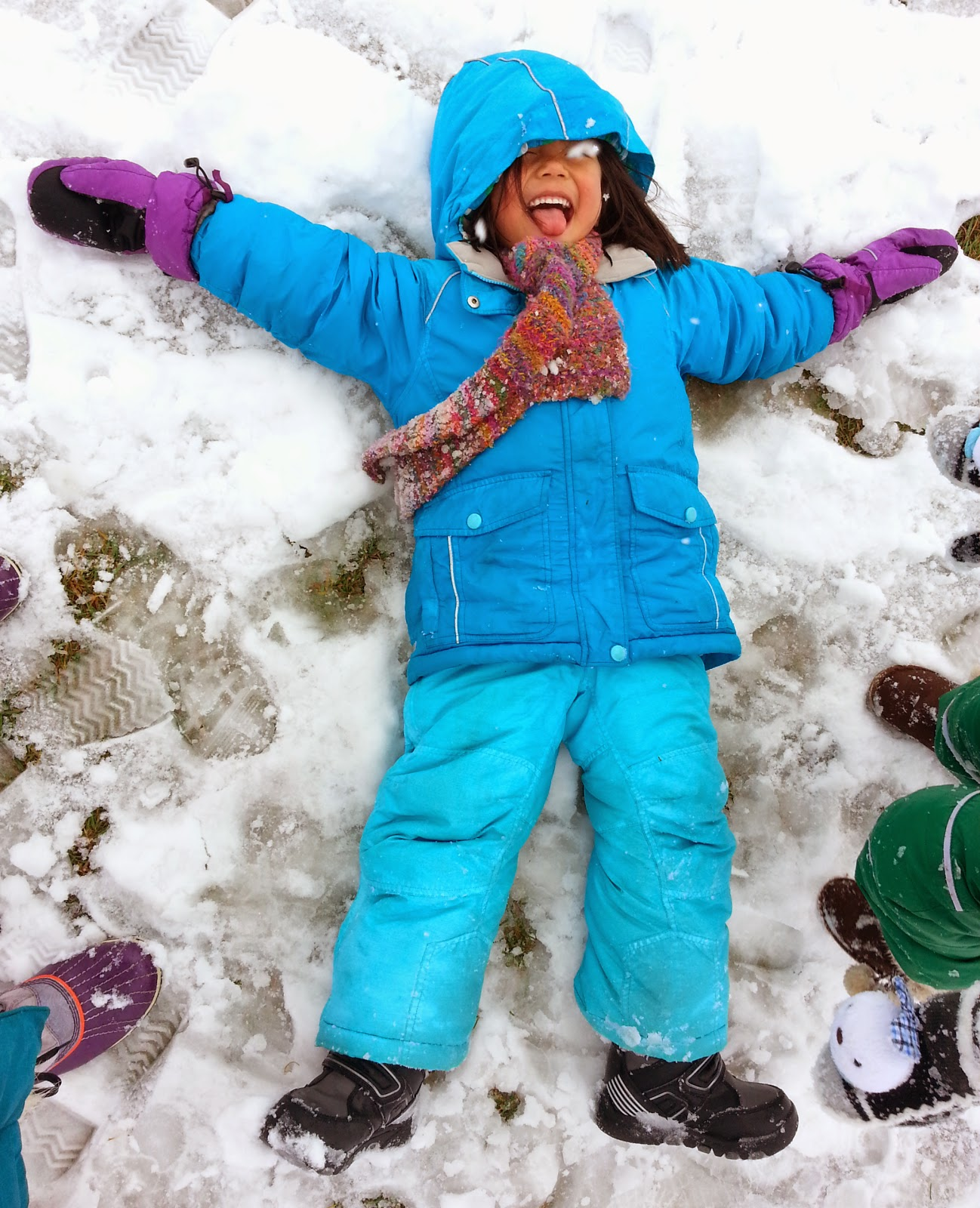 Snow is here. Please bring and label: A hat, mittens, a snow suit or snow jacket and pants, snow boots, and sunscreen for your child. The teachers will be bringing the kids outside everyday that weather allows.