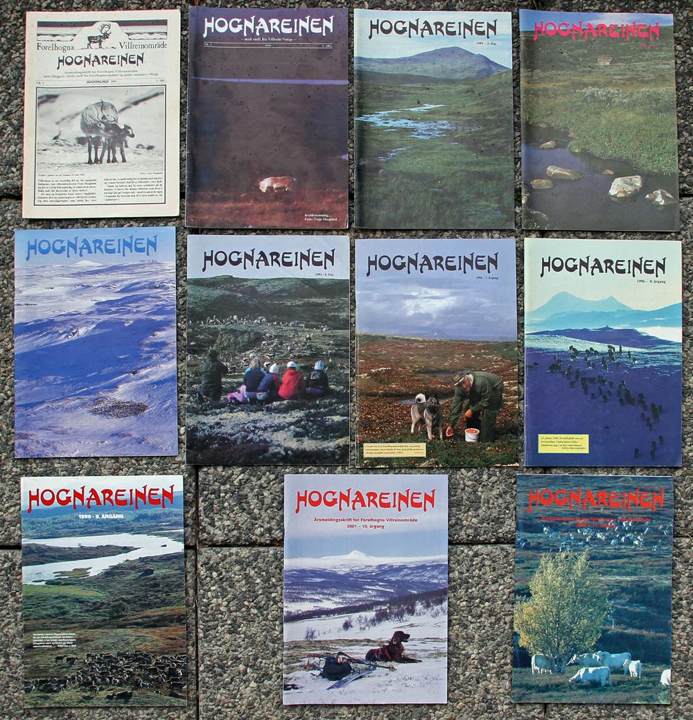 """I løpet av årene 1985 til 2003 ble det utgitt 11 utgaver av """"Hognareinen"""". Tre av årgangene var temanummer. I 2014 ble det gjort et nytt forsøk, se bildet til venstre. Last ned: """"  Tidligere utgaver av Hognareinen  """" (side 5 i Hognareinen 2014) - pdf."""