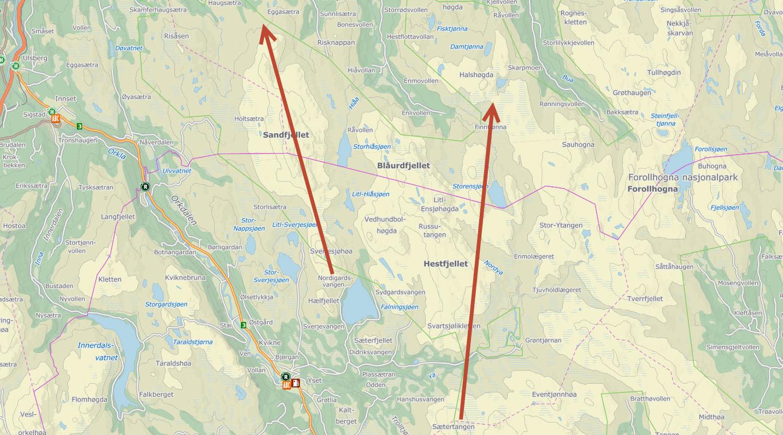 Vinden har snudd og villreinhopene i Forollhogna befinner seg nå nord for fylkesgrensa. Dyrene startet trekket i helga. Kart: Finn.no