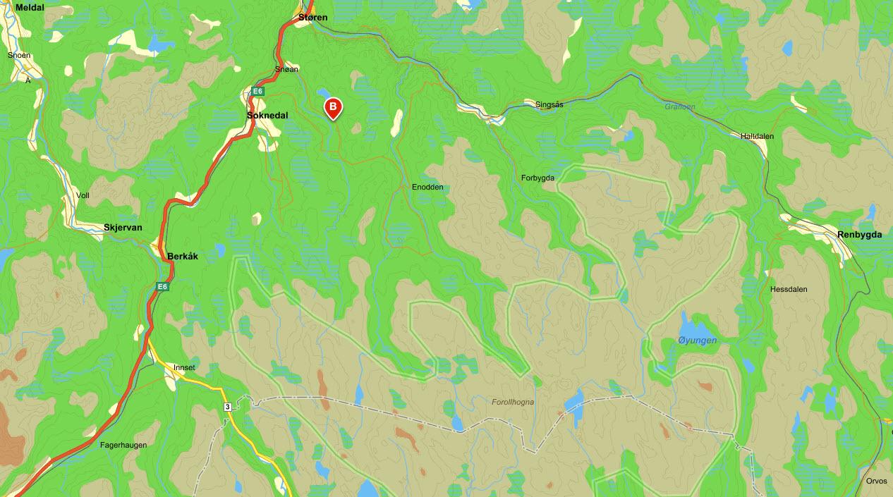 Nordhauka forsamlingshus i Soknedal er årsmøtestedet i år. Kart: Gule Sider