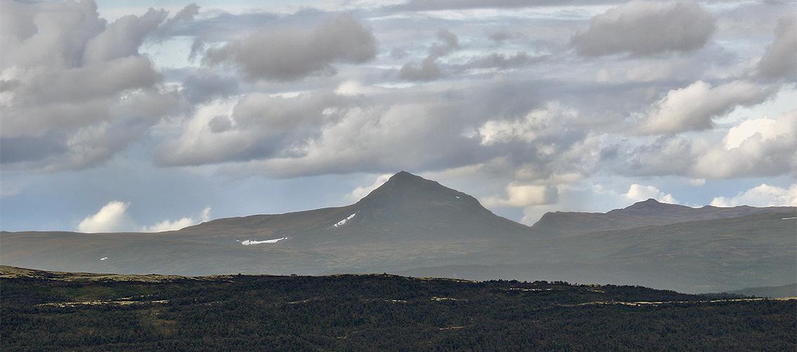 Det er fortsatt snøfonner igjen i Forollhogna-området. Her er Hogna-toppen fotografert fra Dalsbygda. Foto: Arne Nyaas
