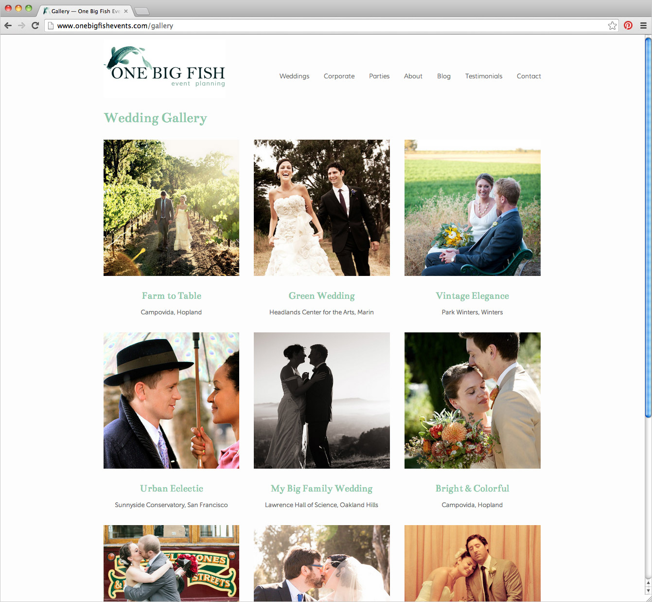 One Big Fish Events website wedding gallery page by Shannon McNab