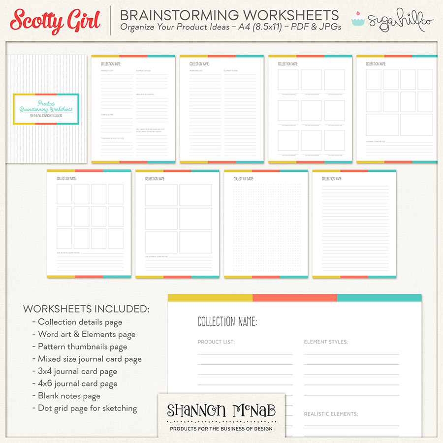 Product Brainstorming Worksheets for Digital Scrapbook Designers | by Shannon McNab