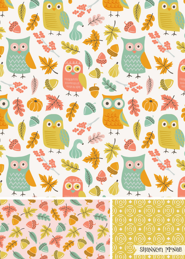 Autumnal Owls surface pattern design collection |Copyright ©2016 Shannon McNab