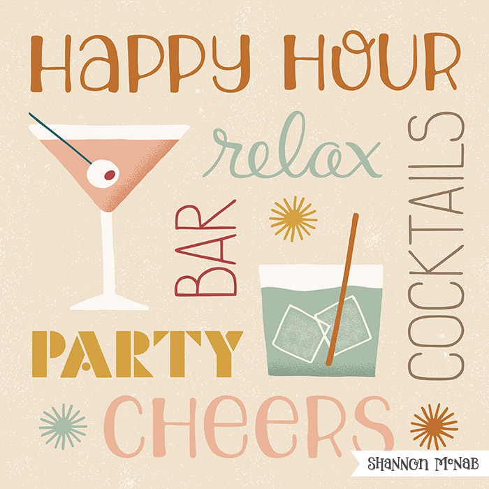 Happy Hour Cocktails Illustration by Shannon McNab ©2017