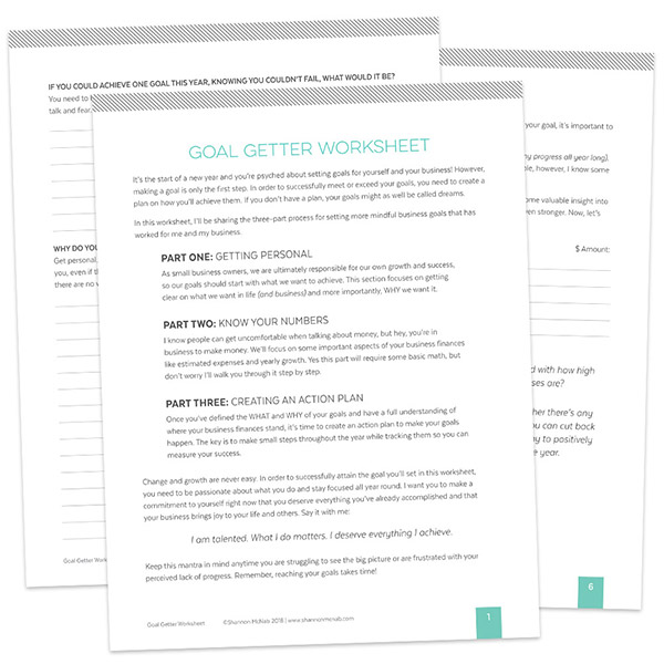 Goal Getter Worksheet by Shannon McNab | shannonmcnab.com