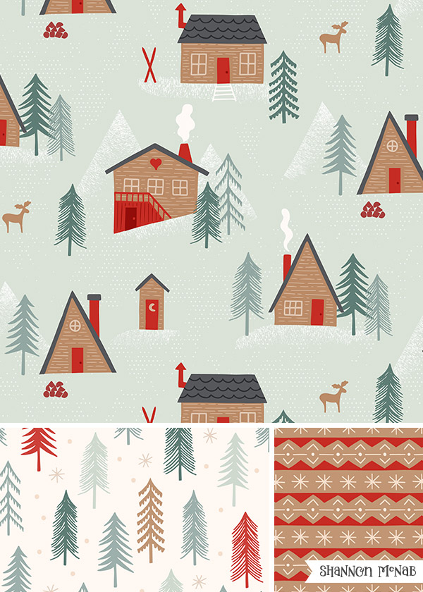 Cozy Cabins design collection | ©2018 Shannon McNab