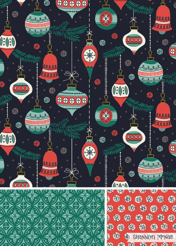 Christmas Baubles pattern collection | ©2018 Shannon McNab