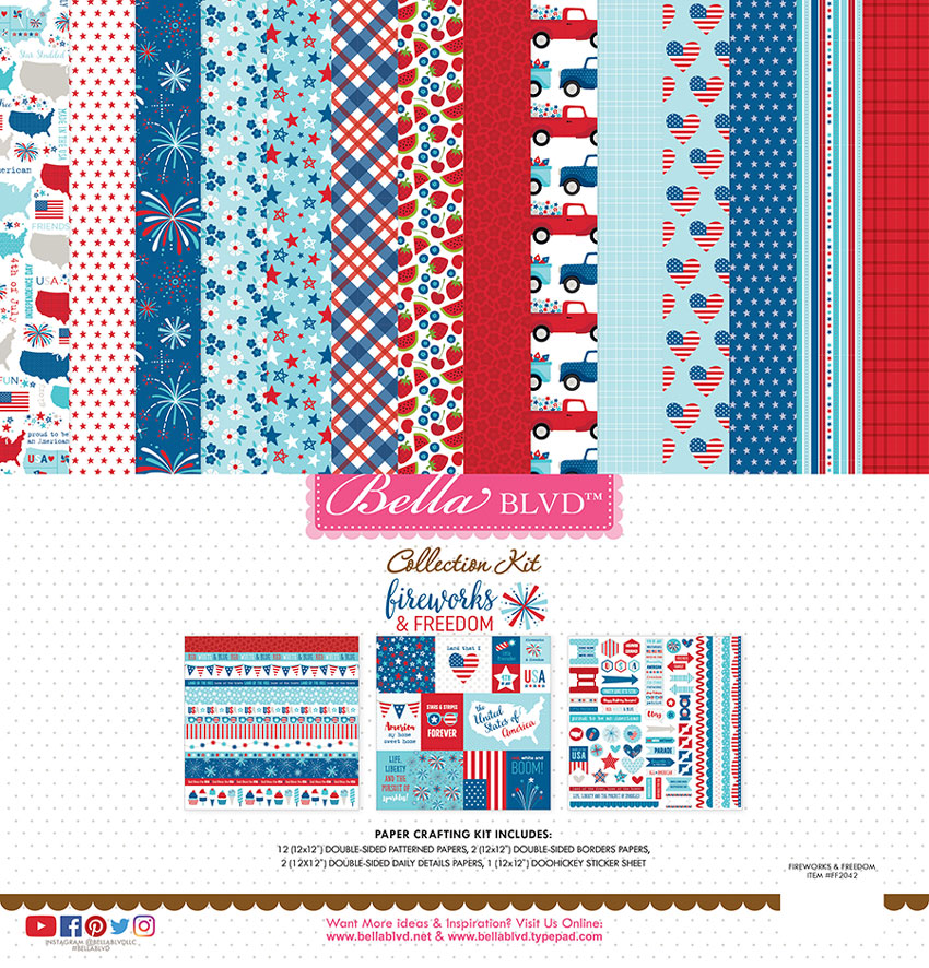 Fireworks & Freedom Scrapbook Collection for Bella Blvd LLC