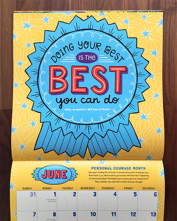 2020 Wonder Calendar: Month Quote for Workman Publishing
