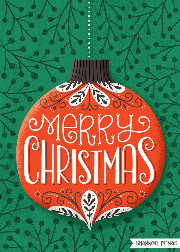 ©2019 Shannon McNab: Merry Christmas Ornament