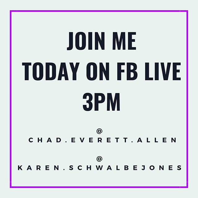 Coming up! 3pm PST.  Speed round sharing with my good friend and amazing instructor/business woman @ksjpilates.evolved! We'll be on FB Live. Find us on our FB handles  https://m.facebook.com/chad.everett.allen https://m.facebook.com/karen.schwalbejones
