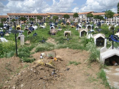 The children's graveyard, where graves have been dug up to make room for new ones. The bodies? They are usually stolen to make experiments in the doctor's lab, or just thrown away.