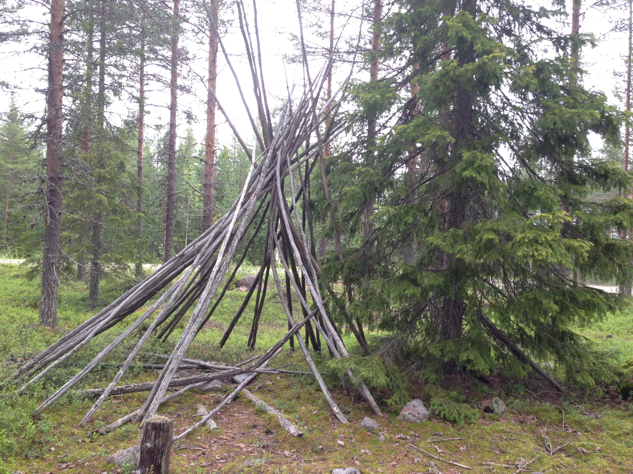 remains of a Sami Kåta (tipi), with the fire in the center
