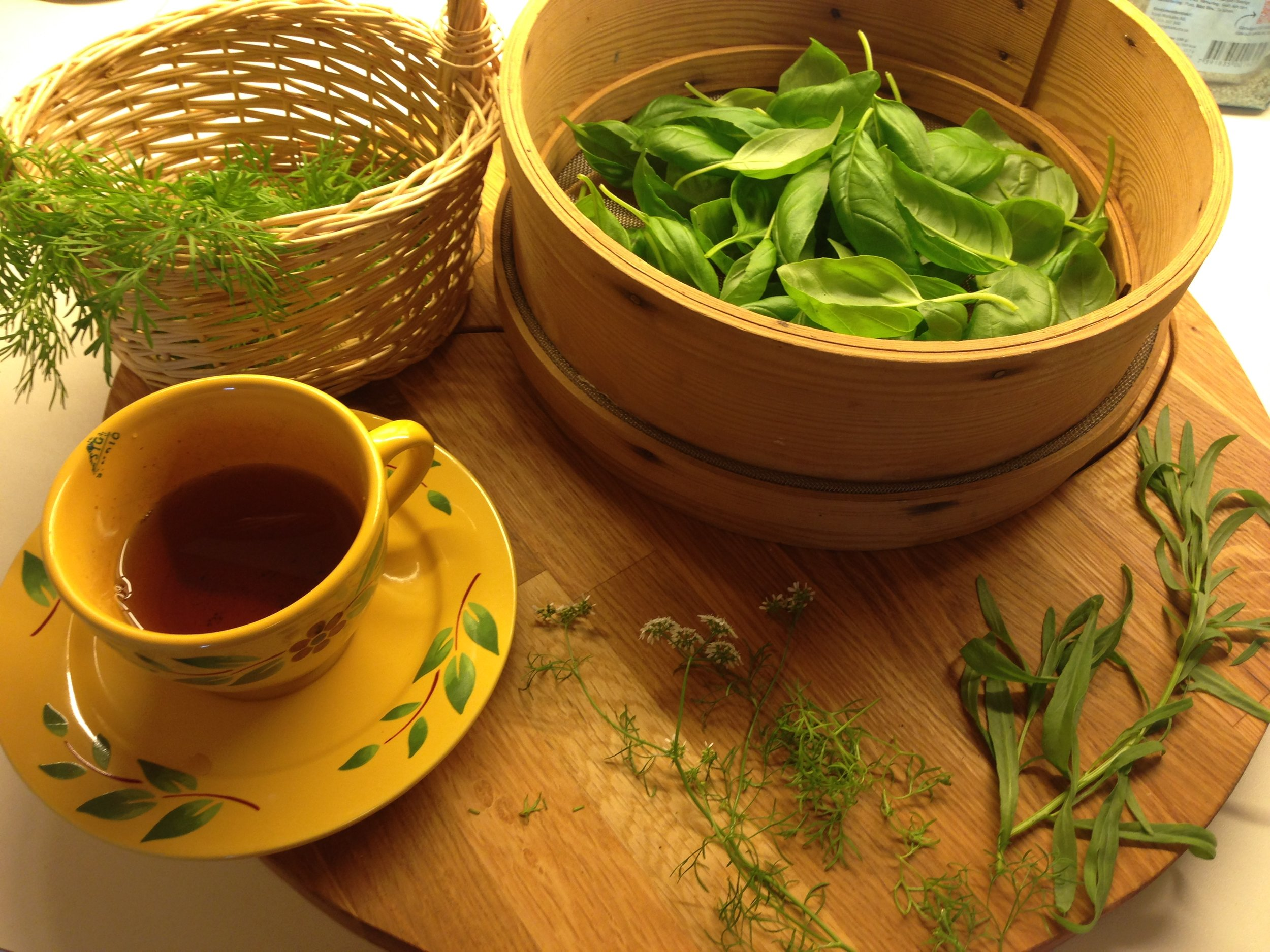 The picture shows basil tea