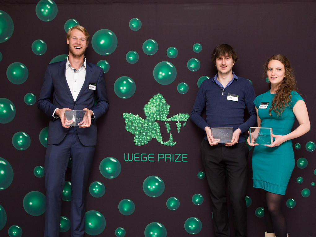 (left to right): Spaak+ members  Martijn Savenije,   Livio Bod, and  Josephine Nijstad with their 1st place trophies at the Wege Prize 2016 Awards