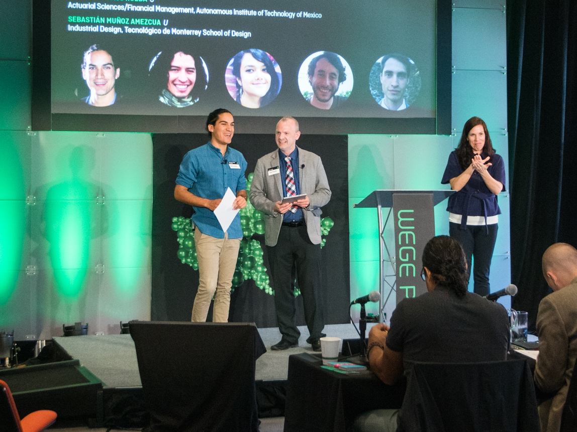 Emiliano Iturriaga (left) of Circular Tourism Mexico representing his team at the Wege Prize 2018 Final Presentation and Awards Event