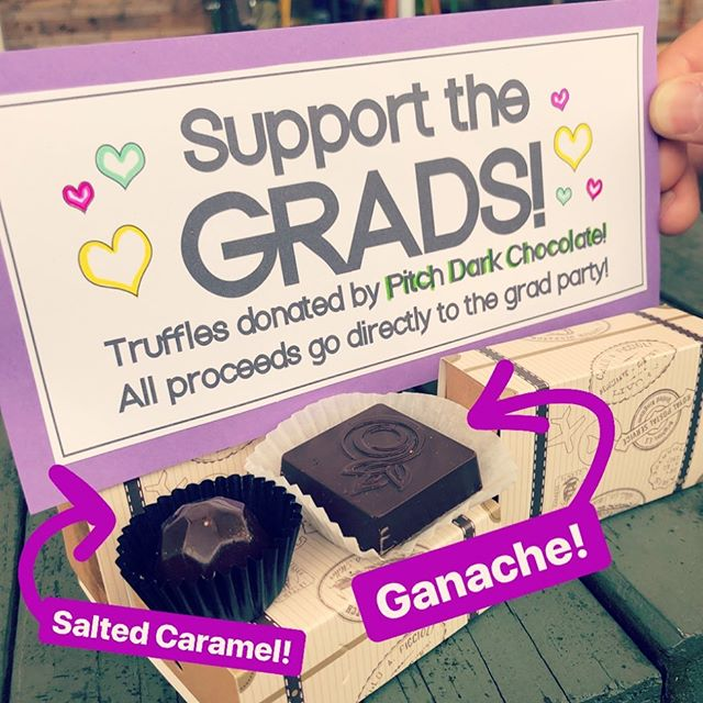 Who doesn't like chocolate?? While supplies last, truffles hand made and donated by @pitchdarkchocolate will be sold at the Refuel Coffee cart! All proceeds go towards this years grad party! 🥳 #chocolate #truffles #fundraiser #45dayslefttillgraduation #yay