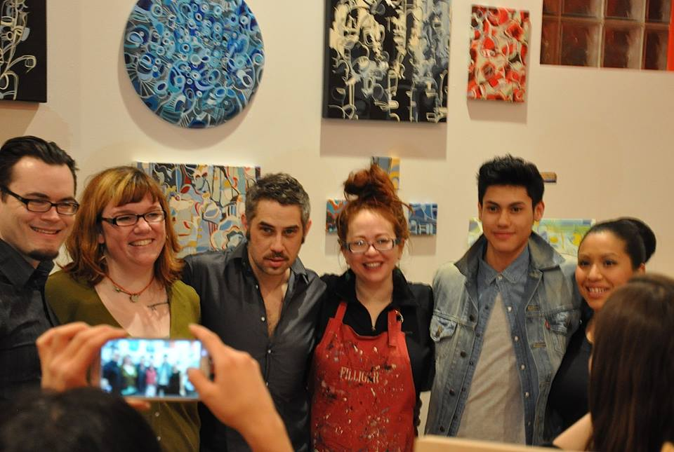 The artists - Mark Molitor, yours truly, Ian Sherwin, Rebecca Moy (that's her work behind us), Sergio Farfan & Anna Dominguez (photo © Diane Soubly; not pictured Steve Casino and Cristy C. Corso )