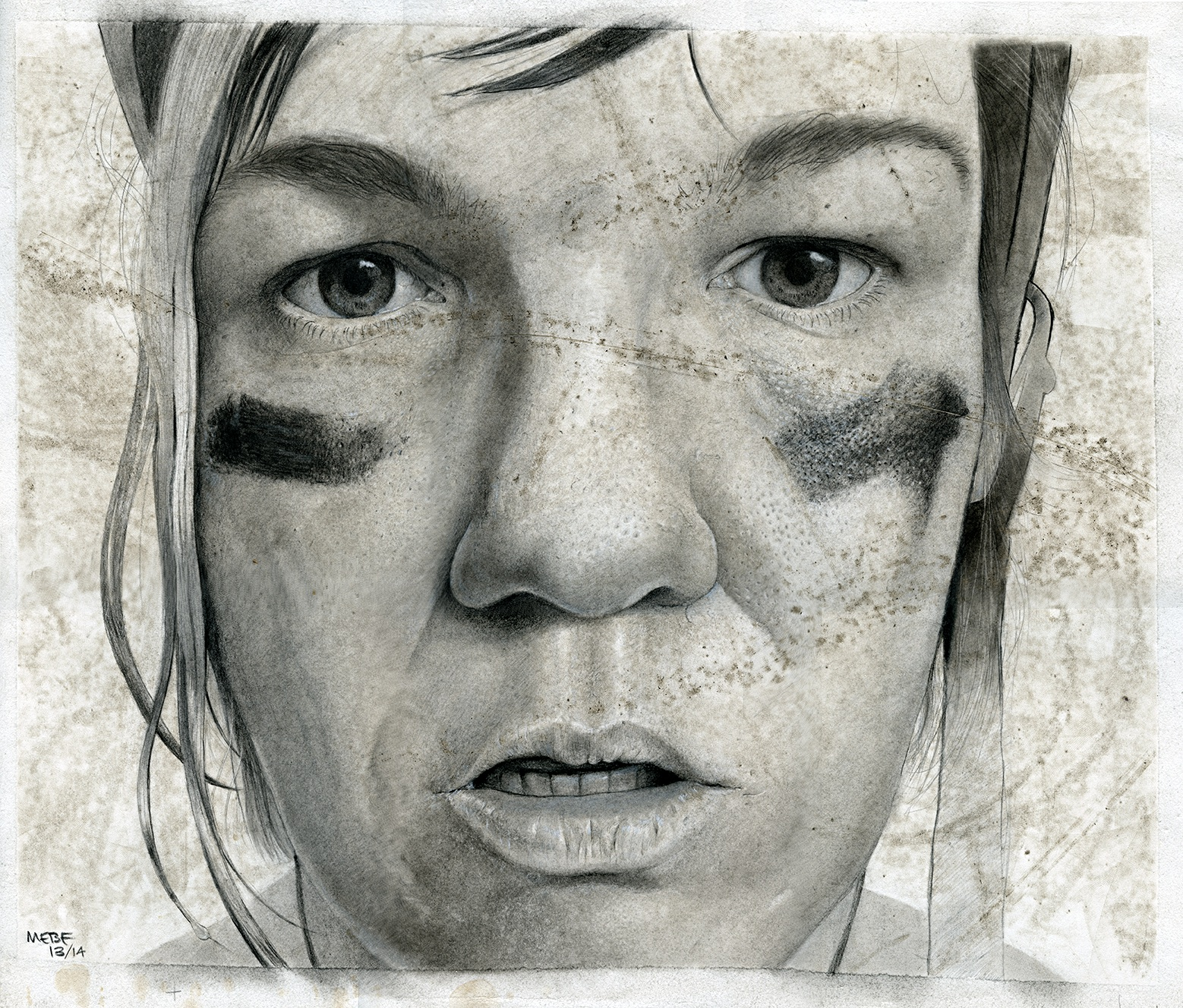 My roller derby self-portrait, 2014, carbon dust & roller skate dirt.