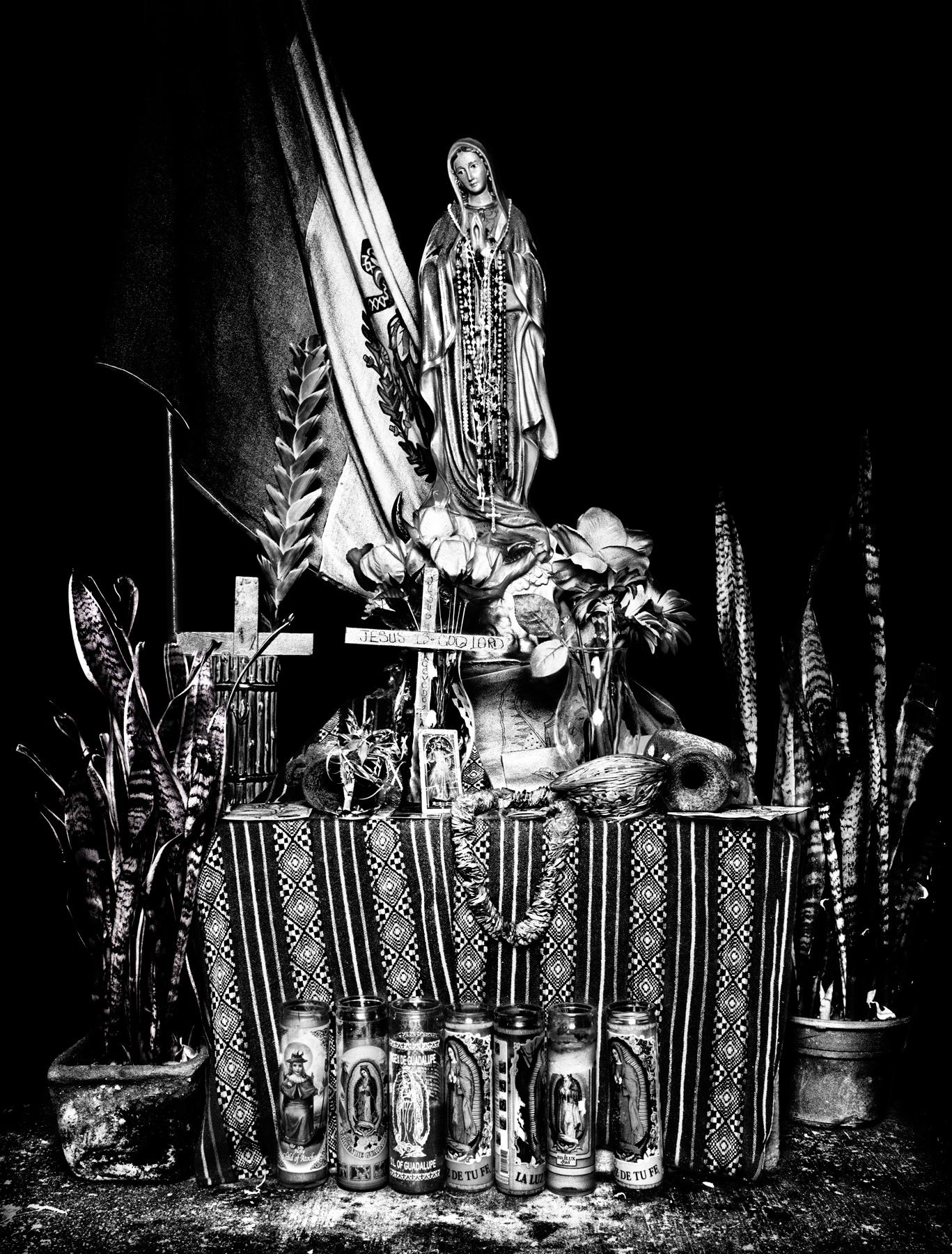 A shrine to the Virgin Mary at the Casa del Migrante, a migrant shelter in Tijuana, Mexico.