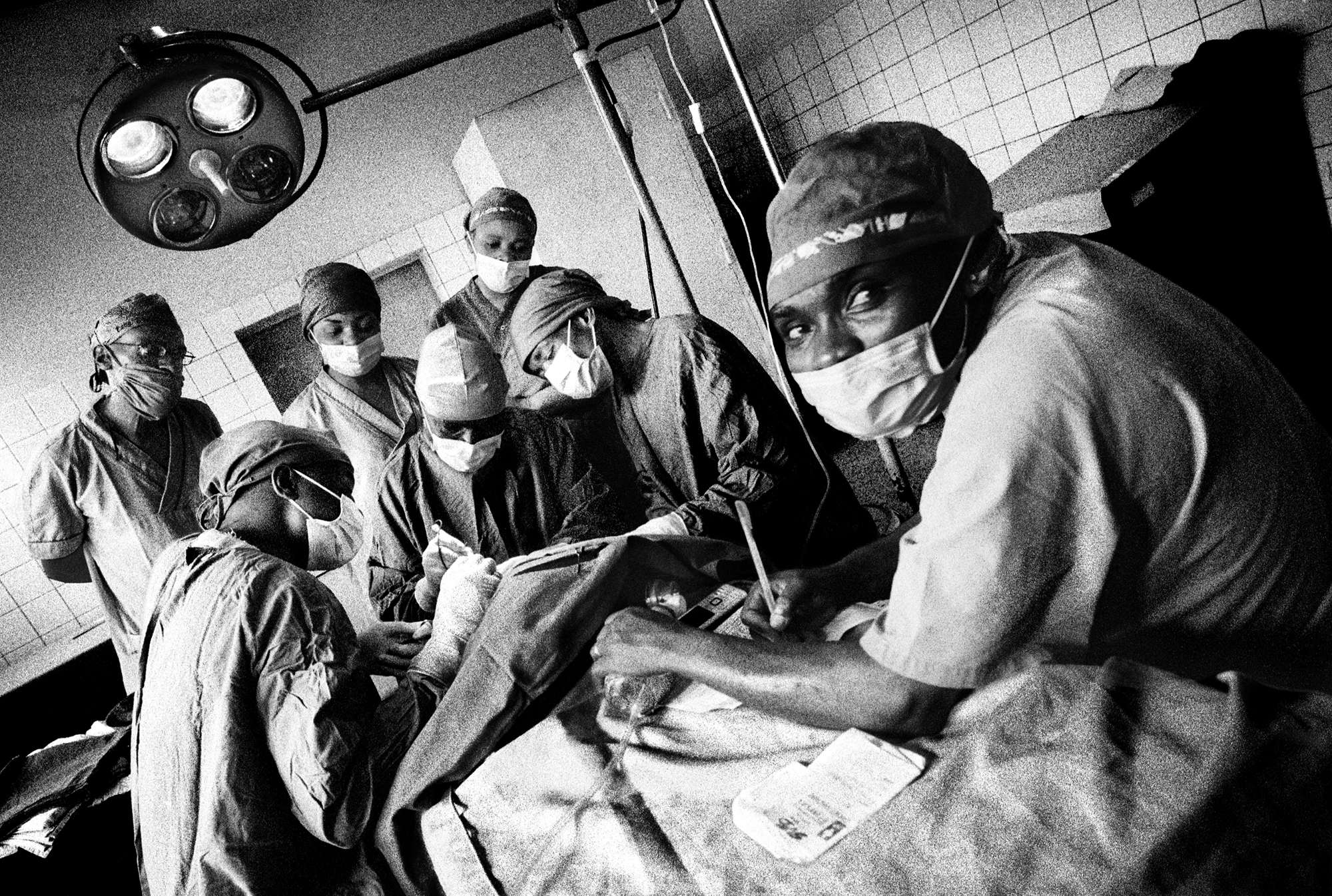 A baby being operated on by physicians at Panzi Hospital