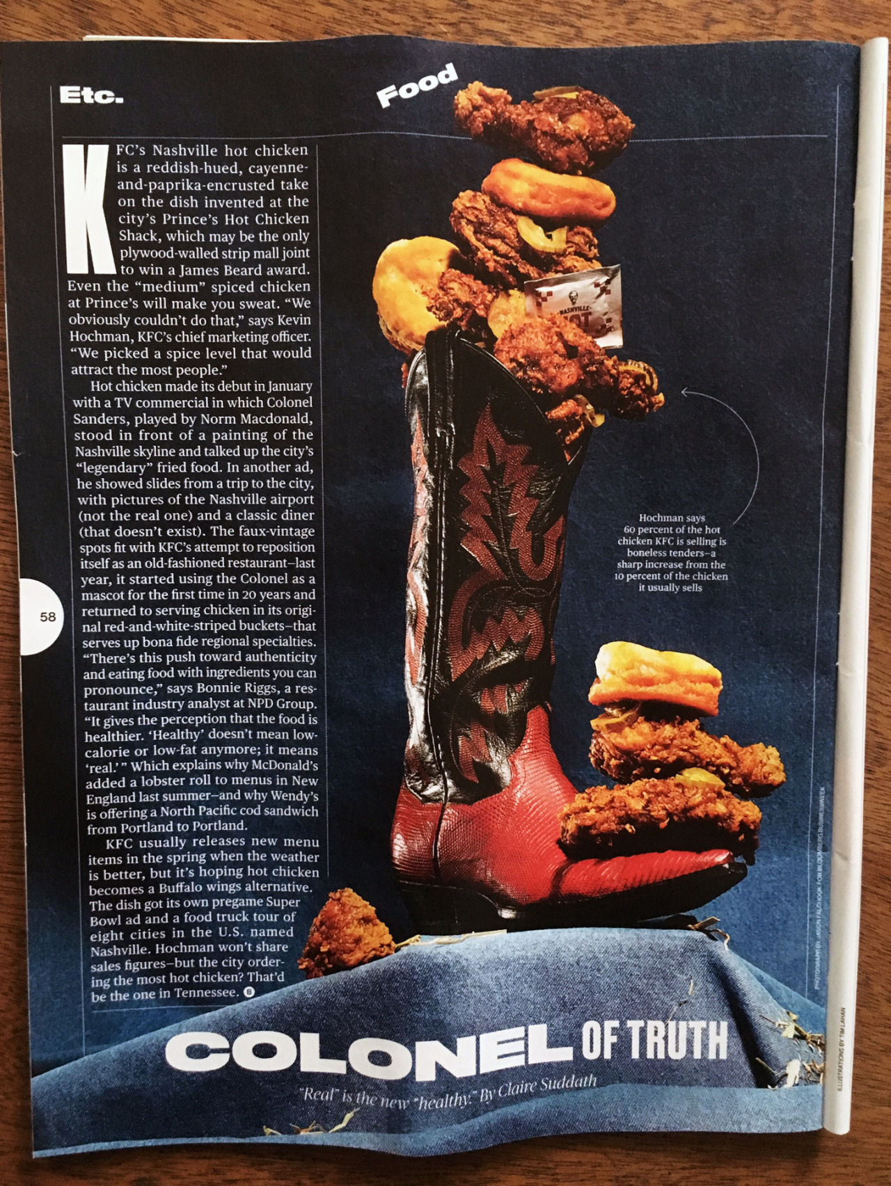 Yes, that is KFC's Nashville hot chicken piled on and in a boot with a denim background that I shot for Bloomberg Businessweek.   Thanks Alis Atwell.
