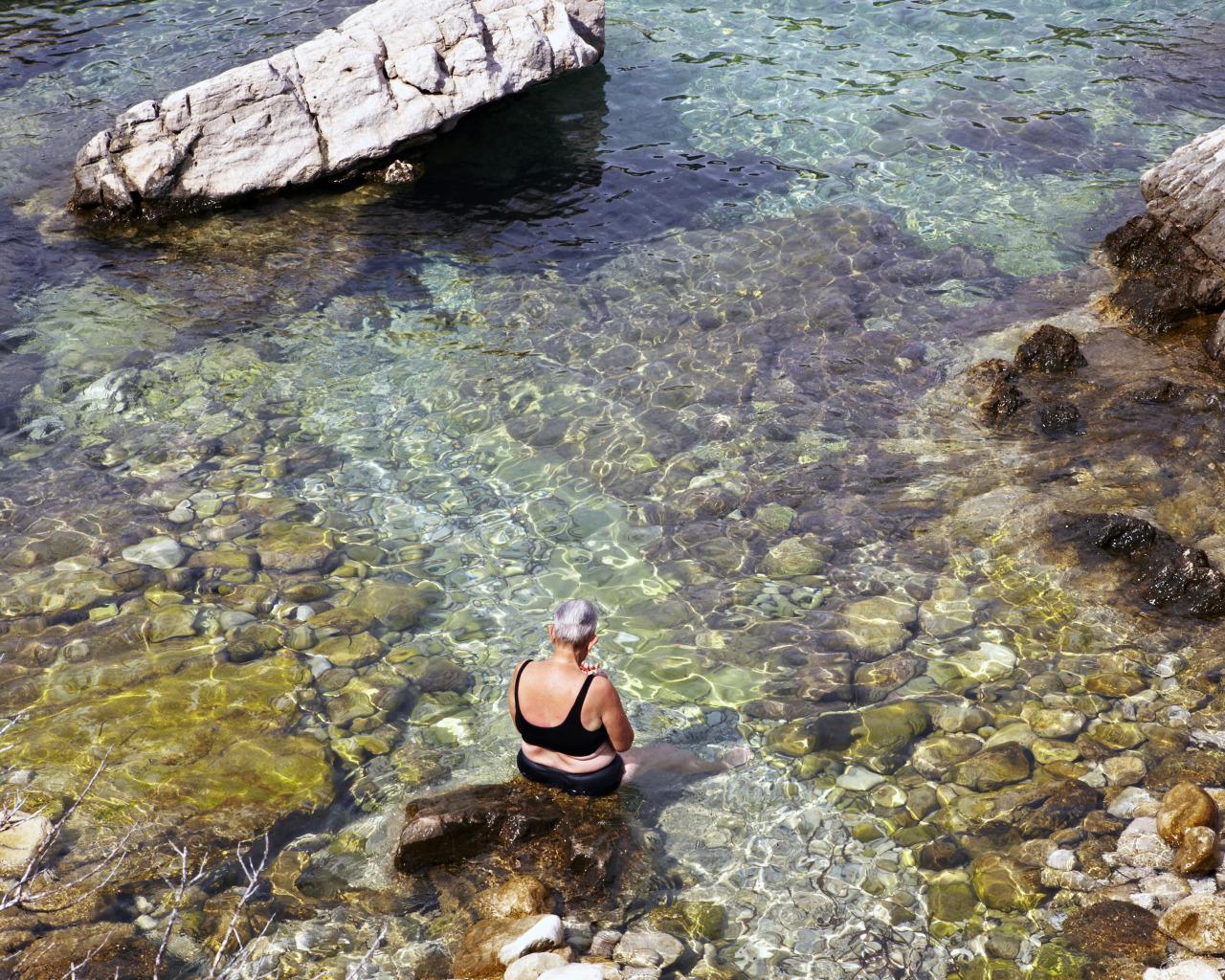 Old woman and the sea. Croatia.