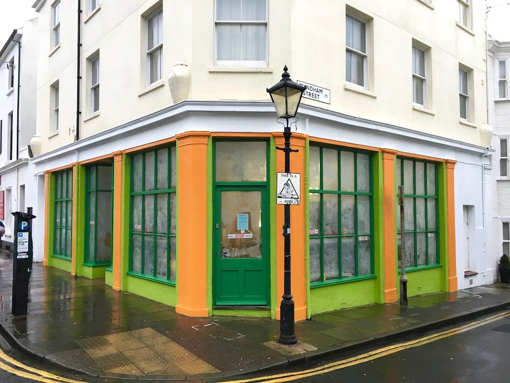 A work-in-progress pic of the new Kemptown Kitchen, newly painted but still waiting to be branded