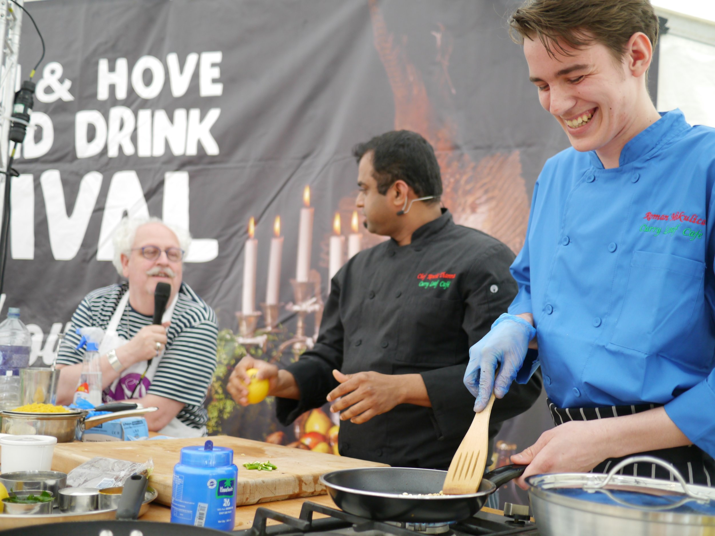 Chef Roman Mikulica (right) with Chef Kanthi (middle) & Andrew Kay at the 2016 Brighton & Hove Food and Drink Festival