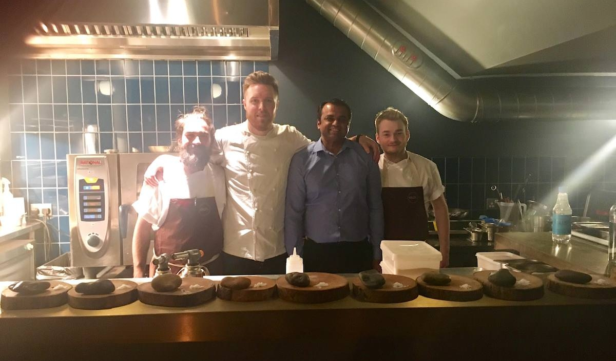 Chef Kanthi (3rd from left) with Steven Edwards (second from left) and his team at Etch in March 2017