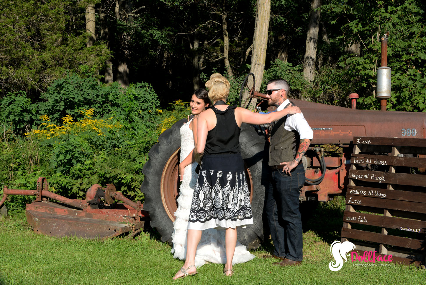 Photographer Lorraine posing the Bride and Groom for post Ceremony shots