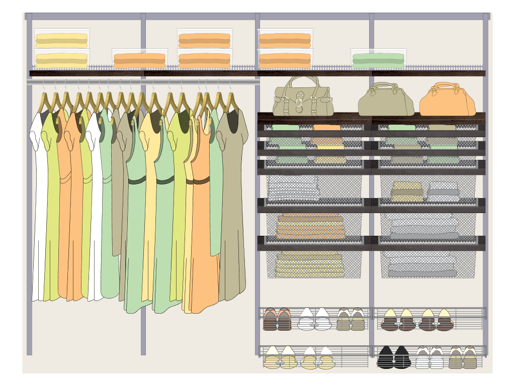 An elevation of a closet in the design process...