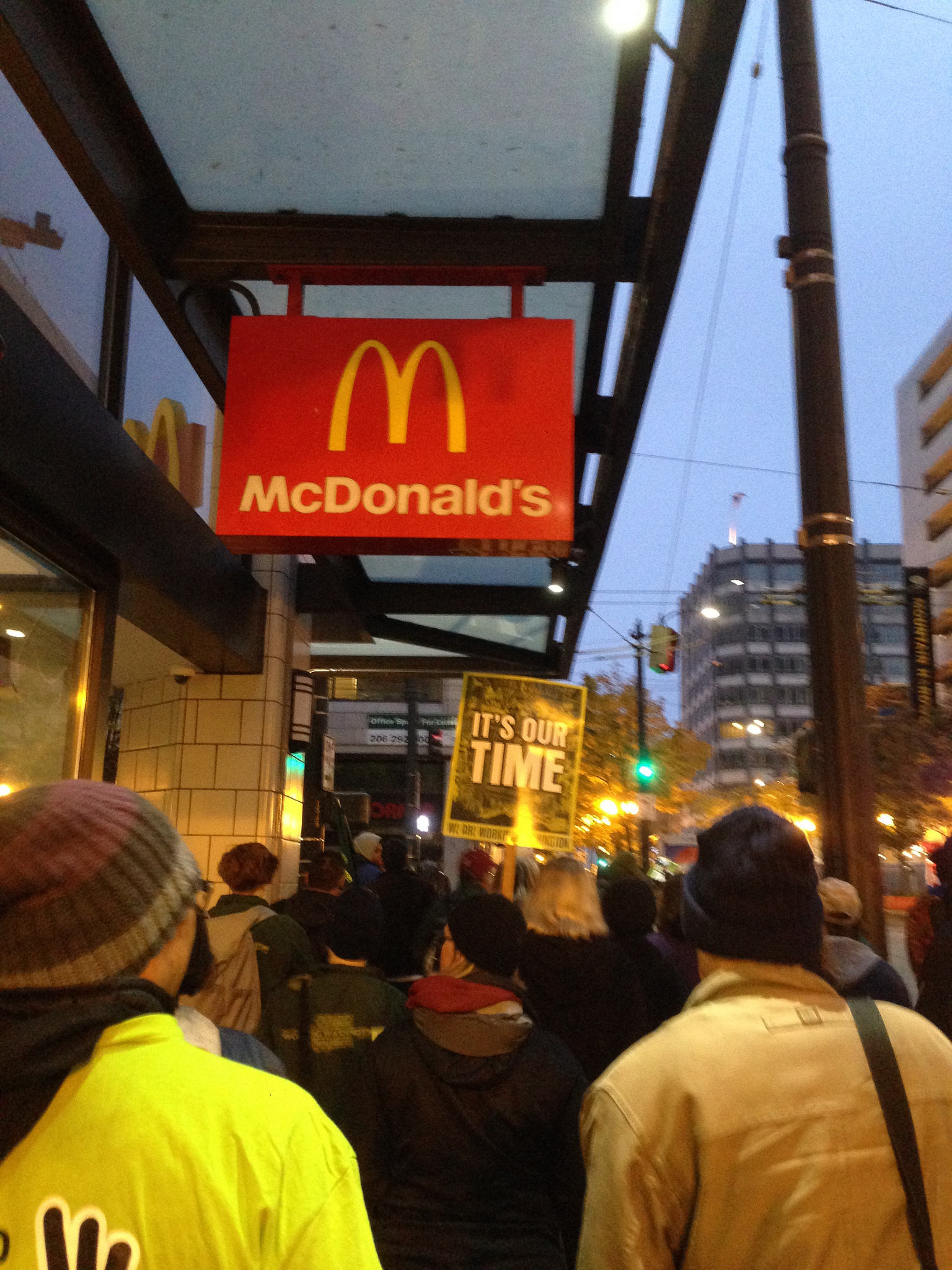 November 10, 2015:workers marched and rallied for living wage and secure schedules across Seattle and across the state.